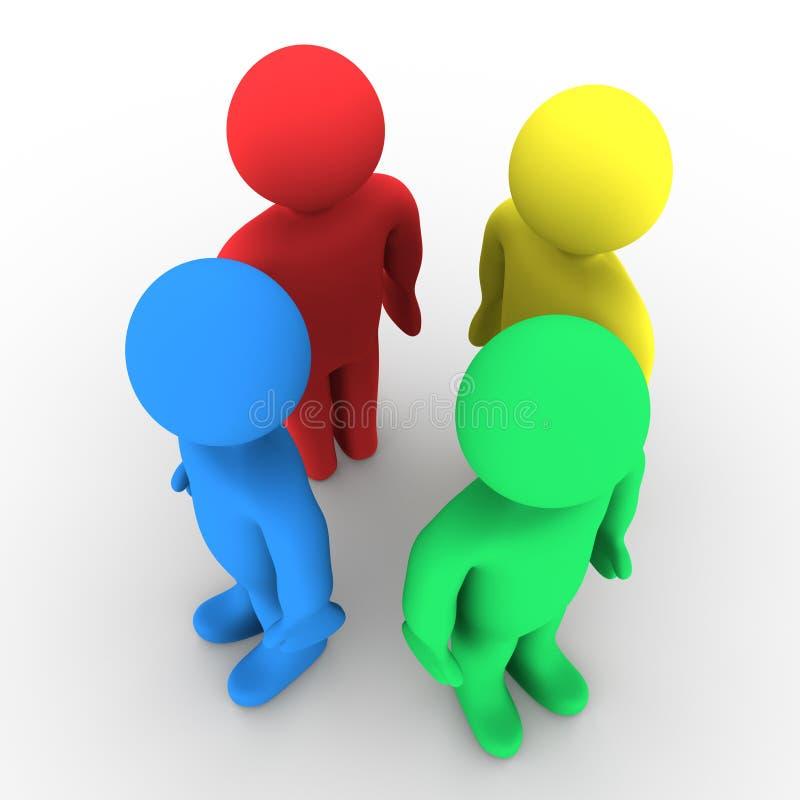 四个人分集概念 向量例证