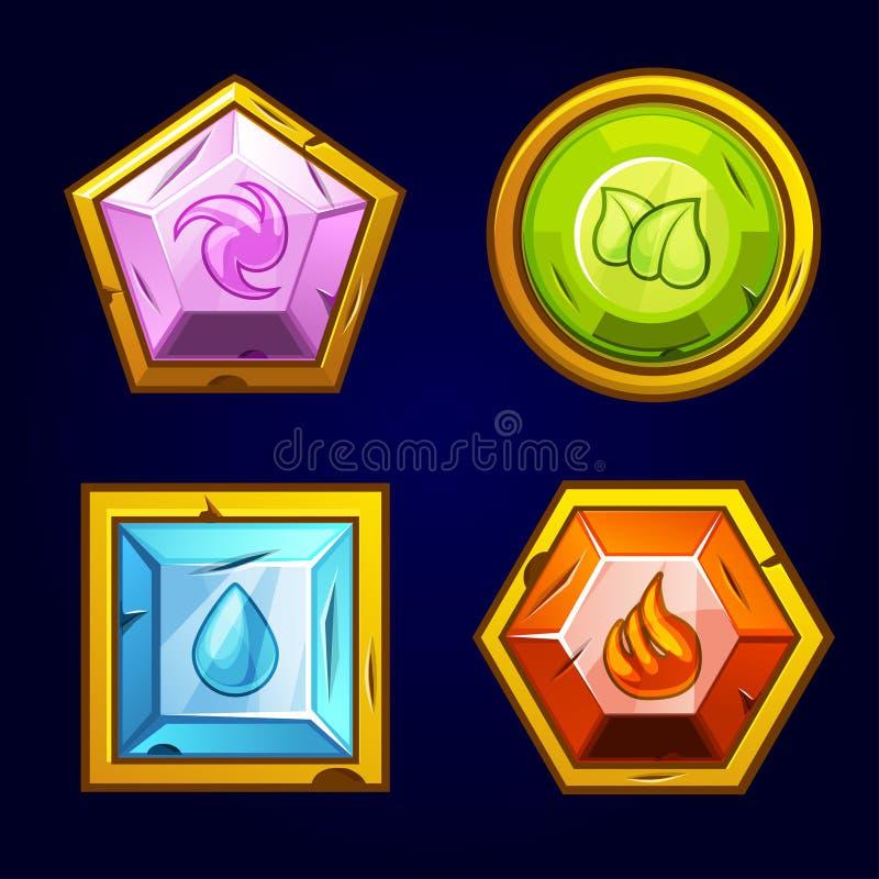 四个元素象,老宝石 向量例证