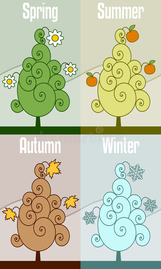 四个减速火箭的季节结构树 皇族释放例证