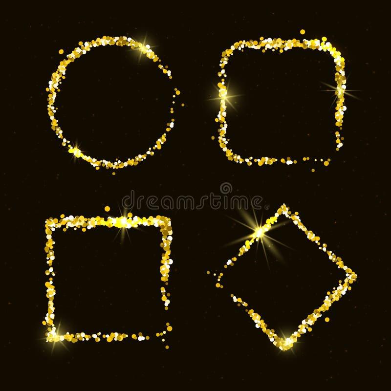 四个发光的金黄闪烁框架 库存例证