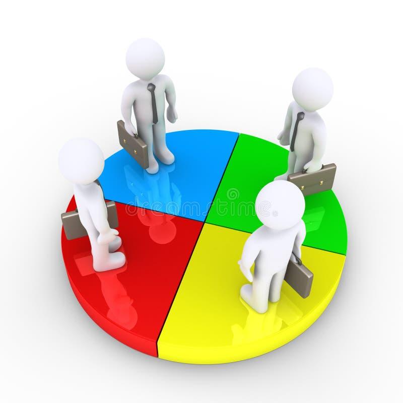 四个商人在圆形统计图表切片一起站立 向量例证