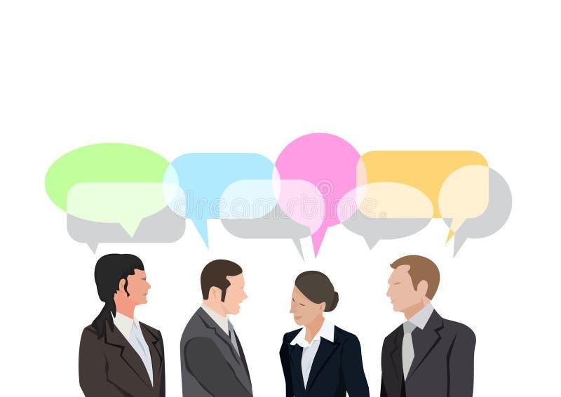 四个商人对话交谈通信减速火箭的流行艺术 向量例证