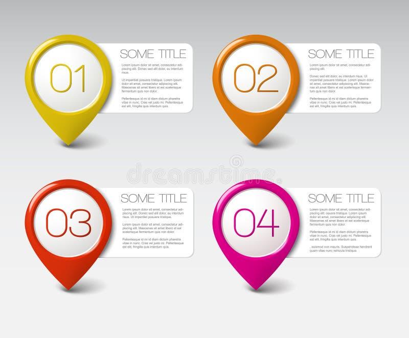 四个图标一个进展三二向量 皇族释放例证