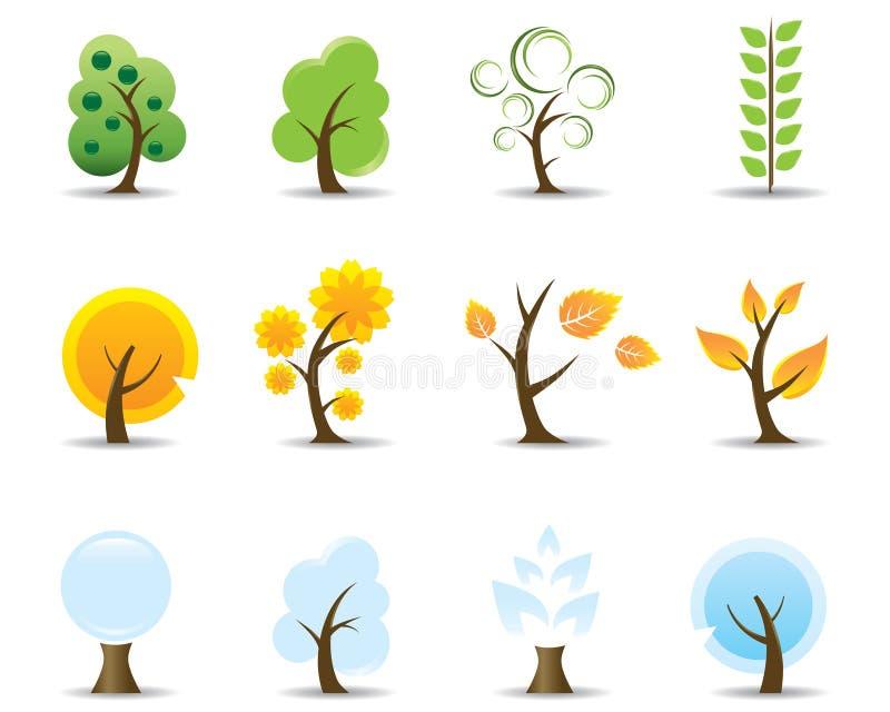 四个图标季节结构树 库存例证