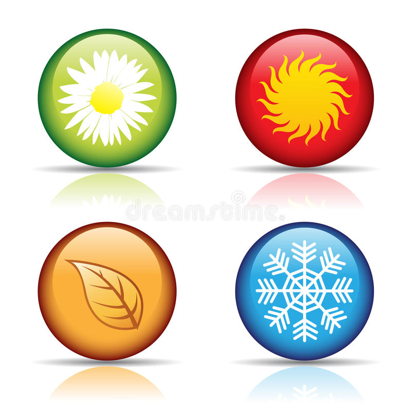 四个图标季节 库存例证