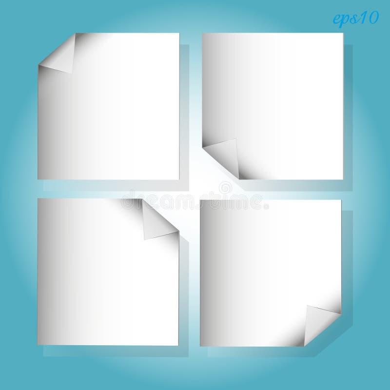 四个在蓝色的白色片断纸 库存例证