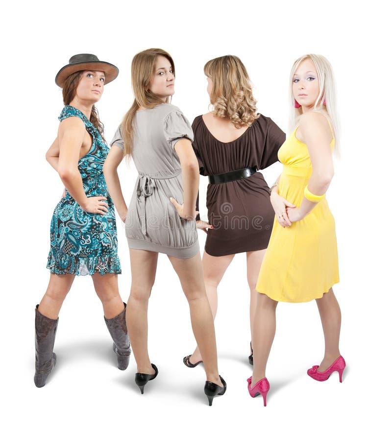 四个女孩背面图 库存照片