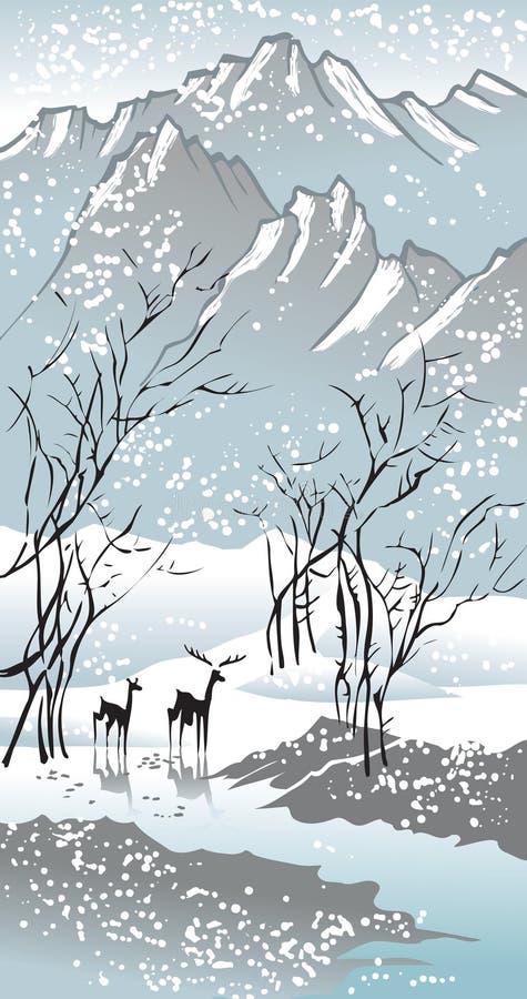 四个季节冬天 向量例证