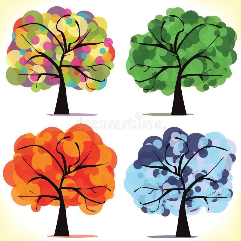 四个季节性结构树 皇族释放例证