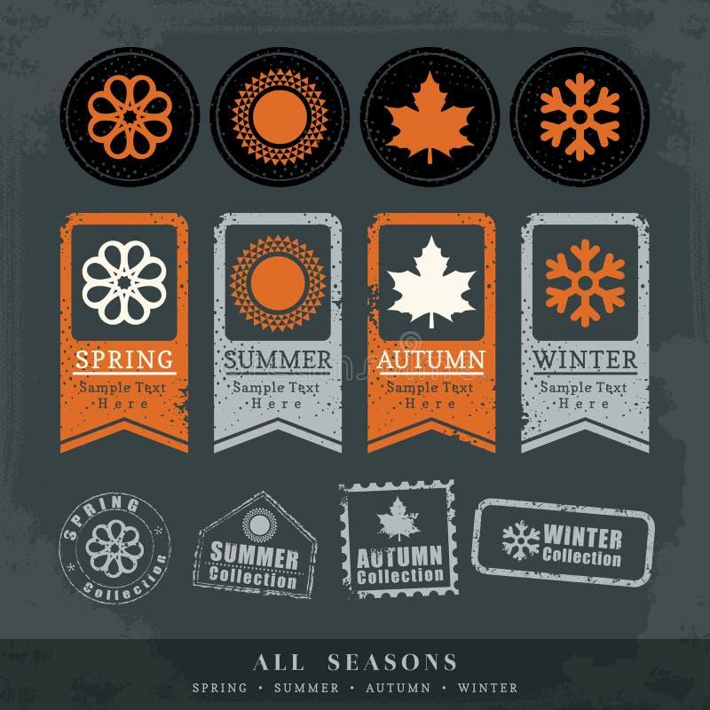 四个季节标志传染媒介邮票标签 皇族释放例证