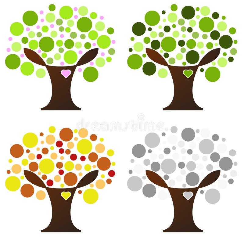 四个季节结构树 向量例证