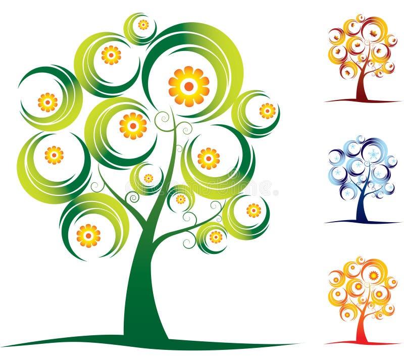 四个季节设置了结构树 皇族释放例证