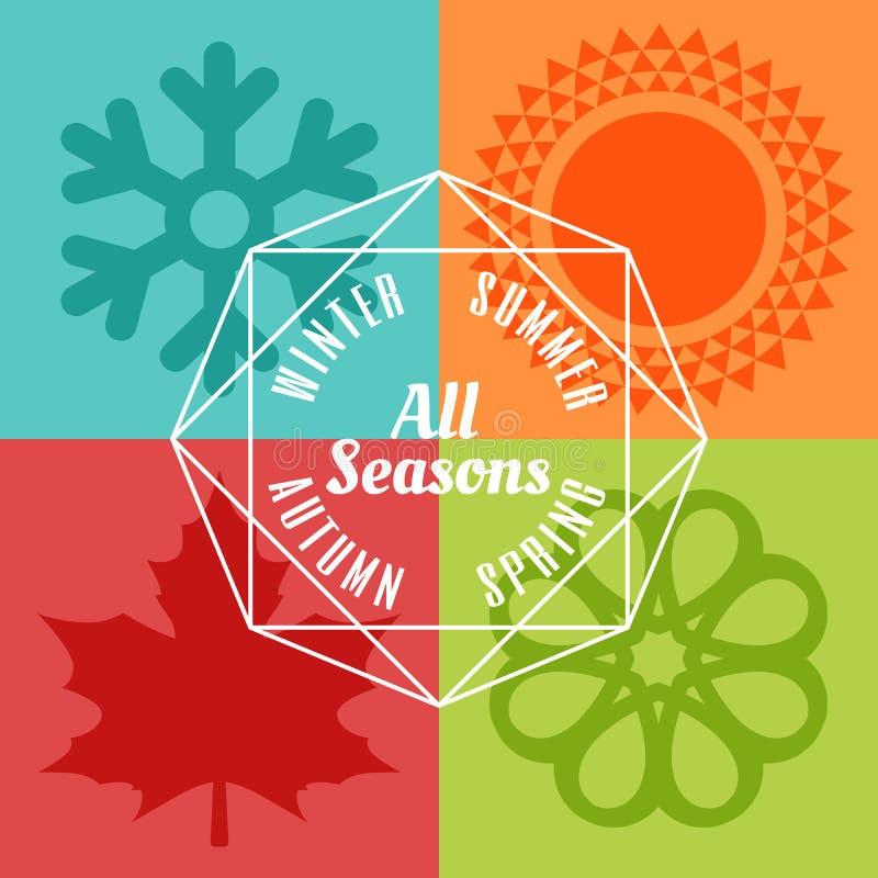 四个季节象标志传染媒介 向量例证