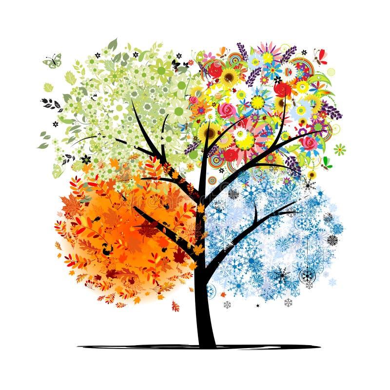 四个季节-春天,夏天,秋天,冬天。艺术 库存例证