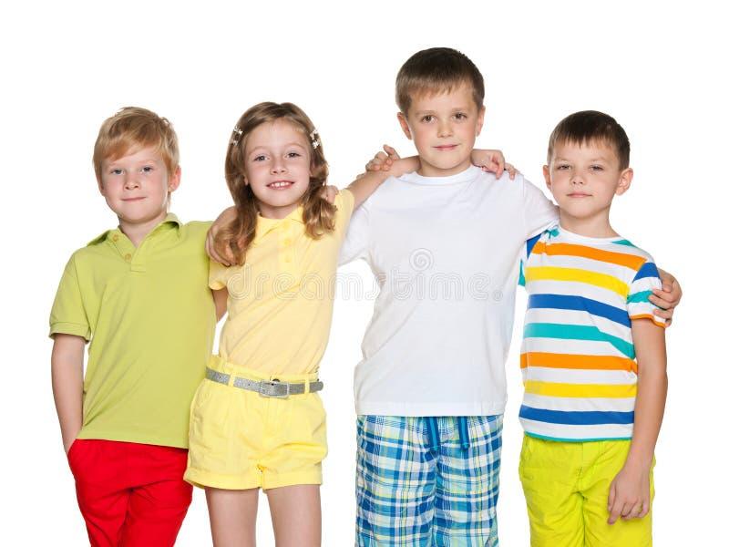 四个孩子友谊  免版税图库摄影