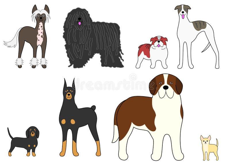 四个对不同的狗 库存例证