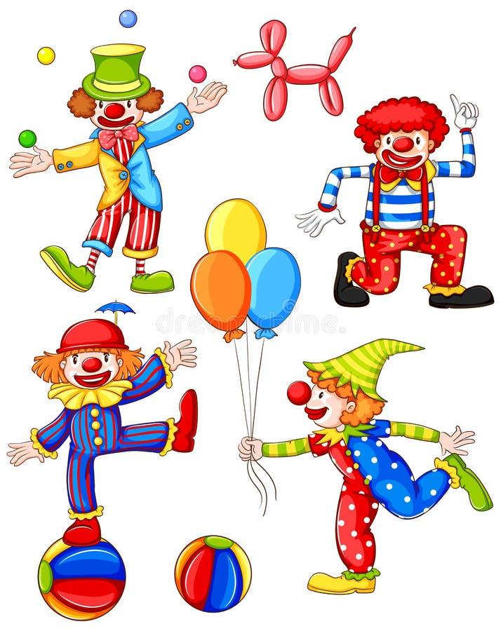 四个小丑的一张简单的色的图画 库存例证