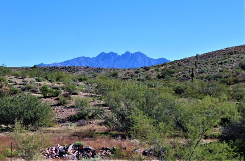 四个峰顶山,Tonto国家森林,亚利桑那,美国 免版税库存图片