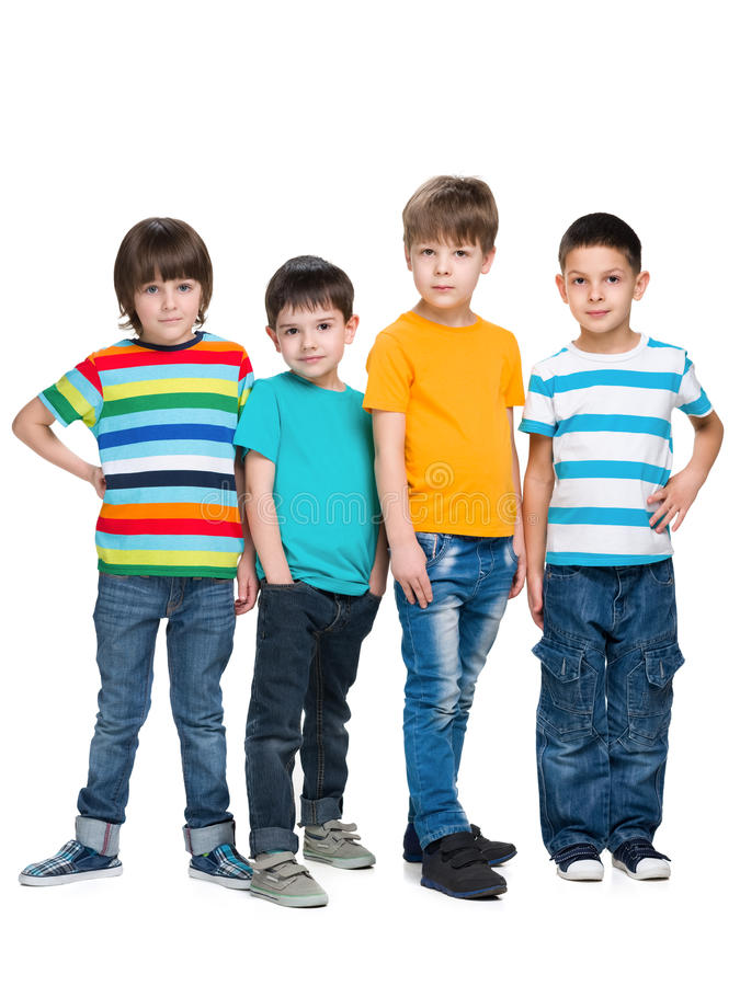 四个时尚英俊的年轻男孩 库存图片