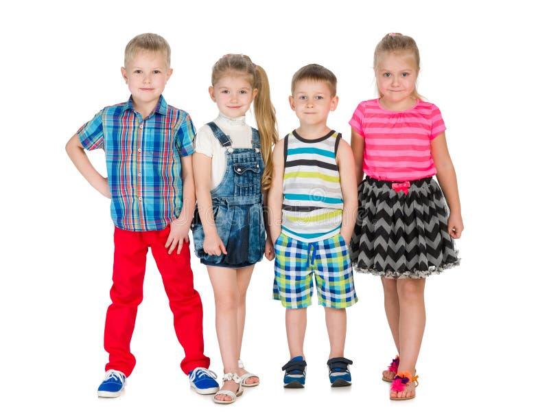 四个时尚金发碧眼的女人孩子 库存照片