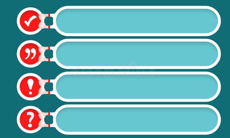 四个正文框宽度复选框,惊叹号,问号 向量例证
