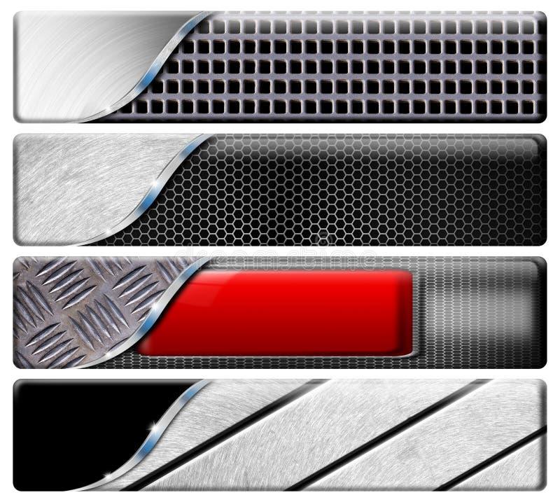 四个水平的金属标头 向量例证