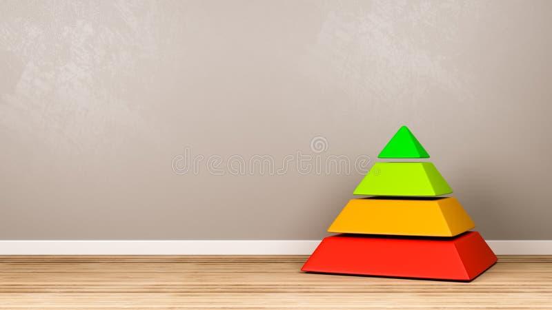 四个水平金字塔结构在屋子里 库存例证