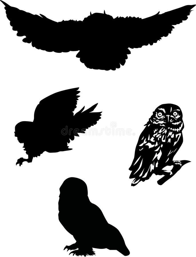 四个猫头鹰剪影 向量例证