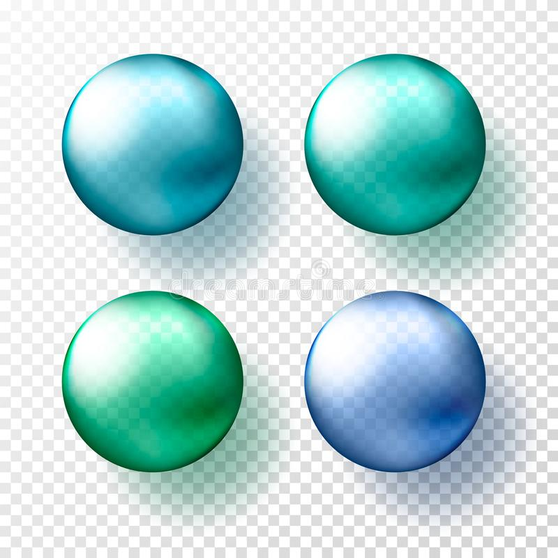 四个现实透明球形或球用不同的树荫金属蓝色和gteen颜色 向量例证EPS10 皇族释放例证