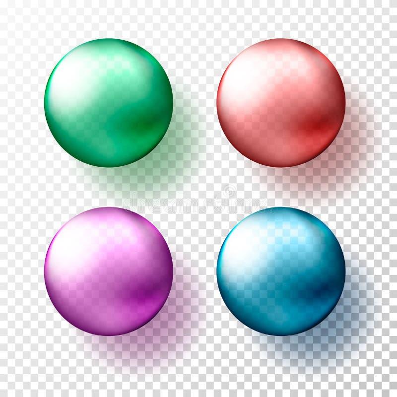 四个现实透明球形或球用不同的树荫金属gteen,红色,桃红色和蓝色颜色 传染媒介例证e 库存例证