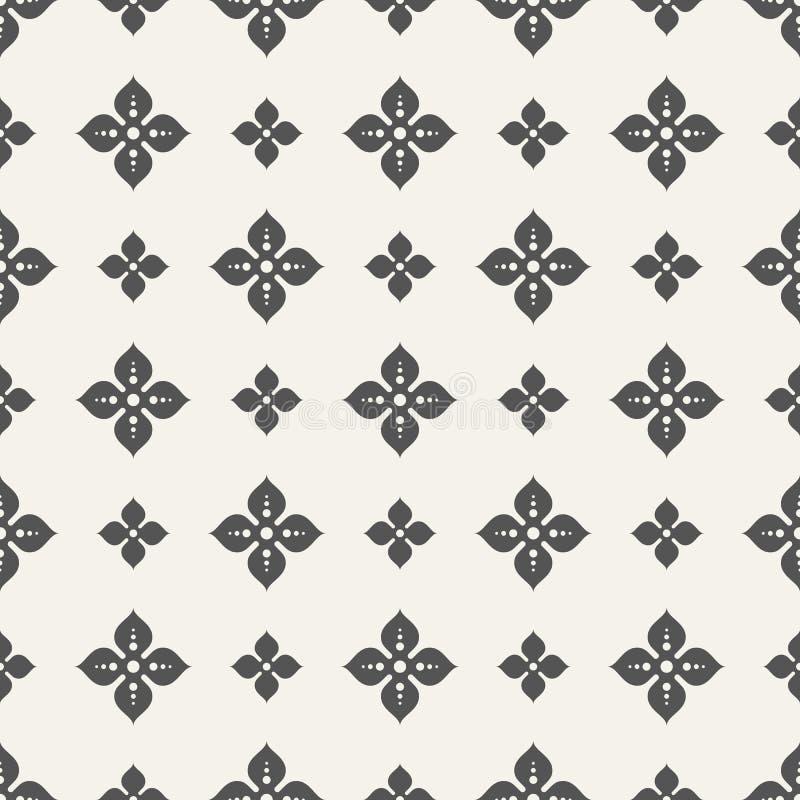 四个瓣无缝的样式抽象花  库存例证