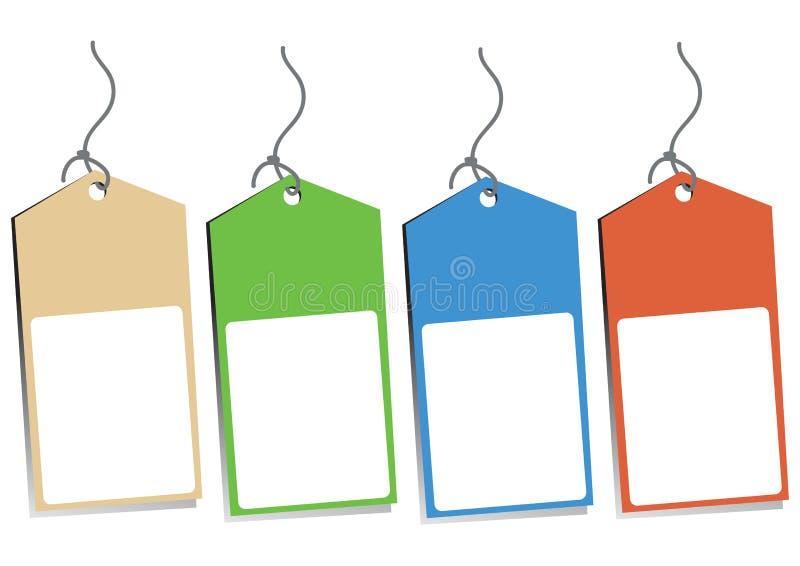 四个空白吊标签 向量例证