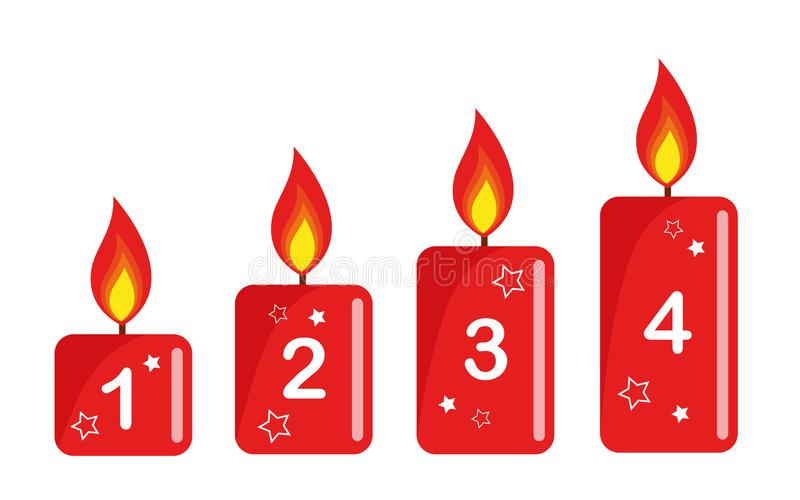 四个红色被点燃的出现蜡烛白色背景数字 库存例证