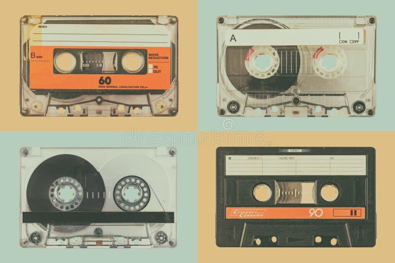 四个老音频紧凑卡式磁带 免版税库存照片
