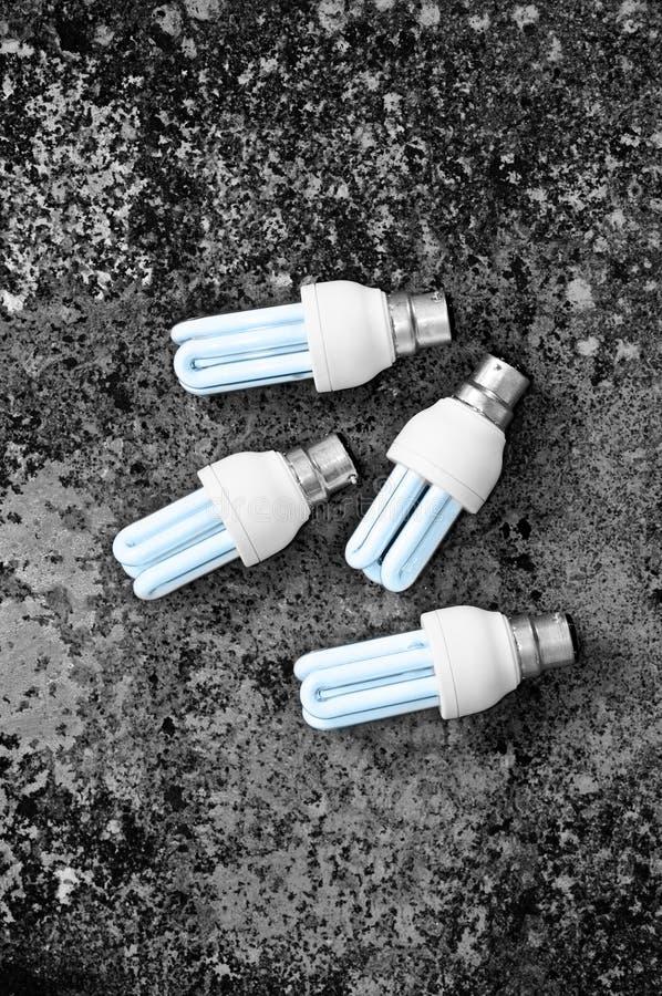 四个能量电灯泡 库存照片