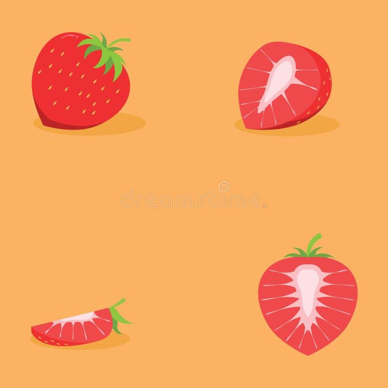 四个设计的切片新鲜的草莓 库存例证