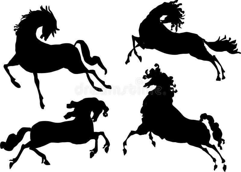四个马剪影 向量例证