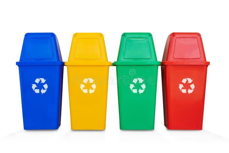 四五颜六色在白色背景隔绝的回收站 免版税图库摄影