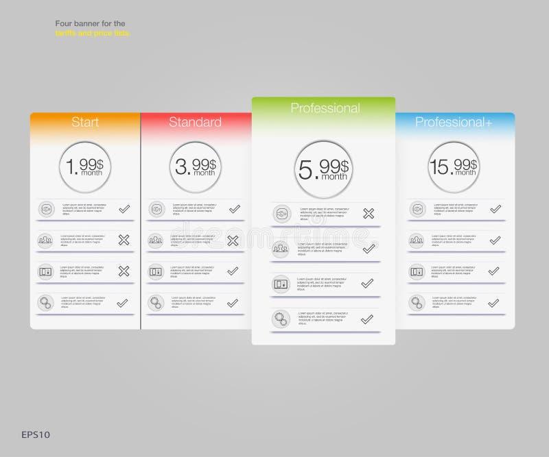 四关税和价格表的横幅 abstrat要素例证万维网 计划主持 网的app传染媒介设计 定价桌,横幅,名单 向量例证