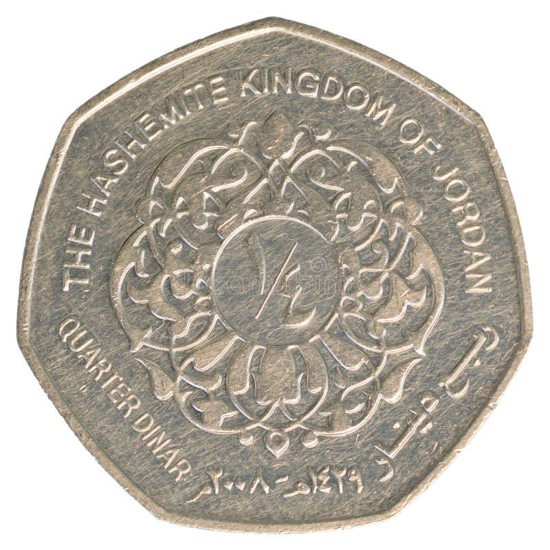 四分之一约旦第纳尔硬币 图库摄影