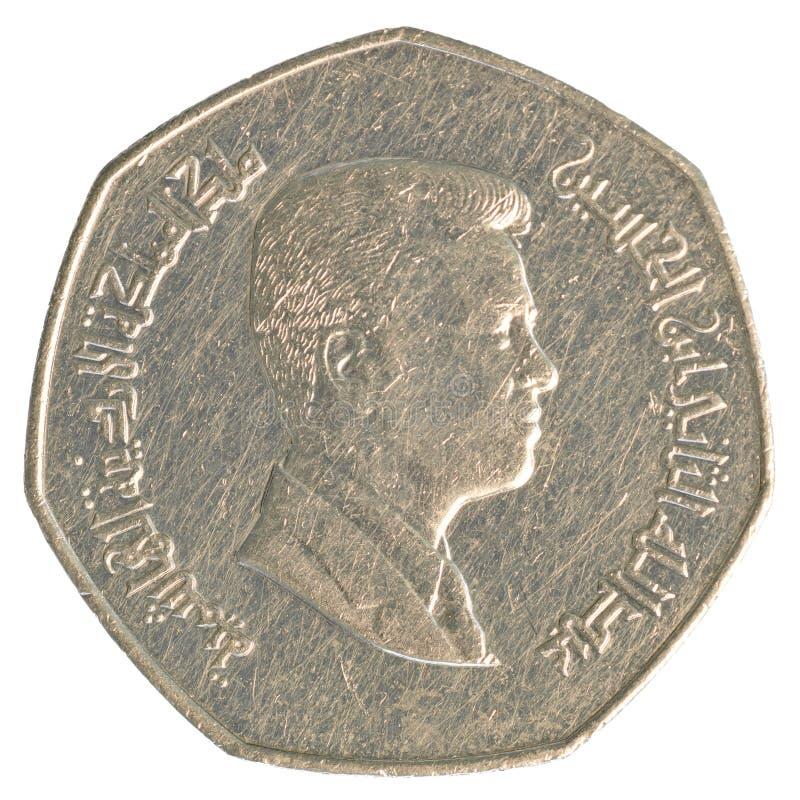 四分之一约旦第纳尔硬币 免版税库存照片