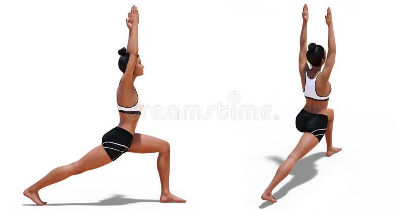 四分之三和一名妇女的正确的外形姿势瑜伽战士一姿势的 向量例证