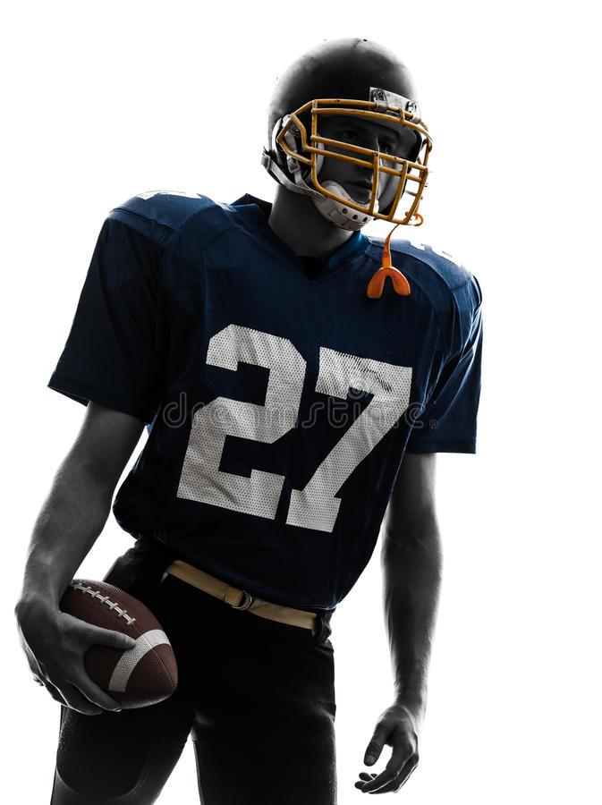 四分卫美国橄榄球运动员人画象 免版税库存图片