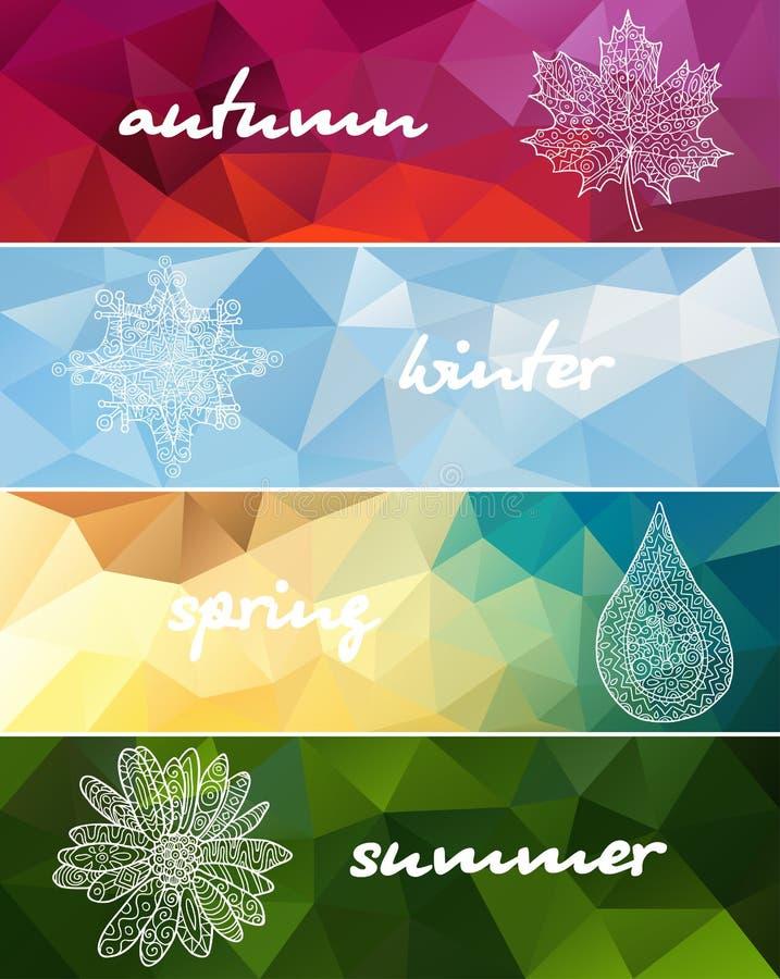 四副季节水平的横幅 皇族释放例证