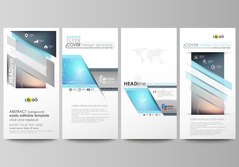 四副现代垂直的横幅,飞行物编辑可能的布局的minimalistic抽象传染媒介例证设计事务 皇族释放例证