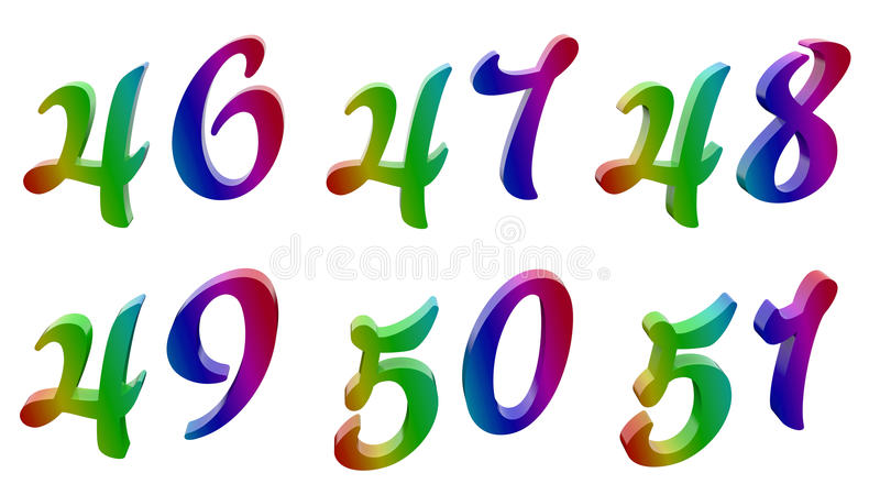 四十六,四十七,四十八,四十九,五十,五十一, 46, 47, 48, 49, 50, 51个书法3D回报了数字,数字 皇族释放例证