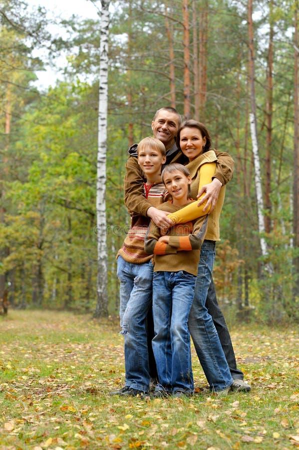 四口之家画象在公园 免版税库存照片