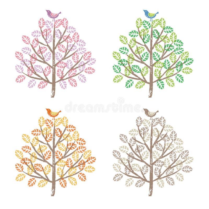 四只季节五颜六色的树和鸟 向量例证