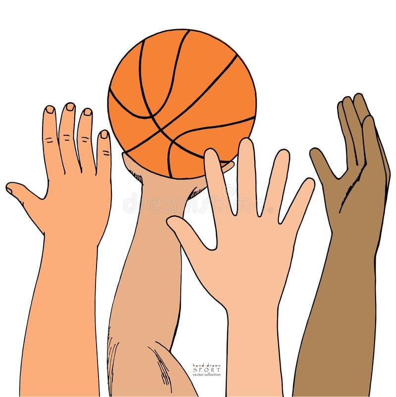 四只男性手攻击篮子球 使用,举行,投掷 手拉的色的剪影 背景查出的白色 库存例证