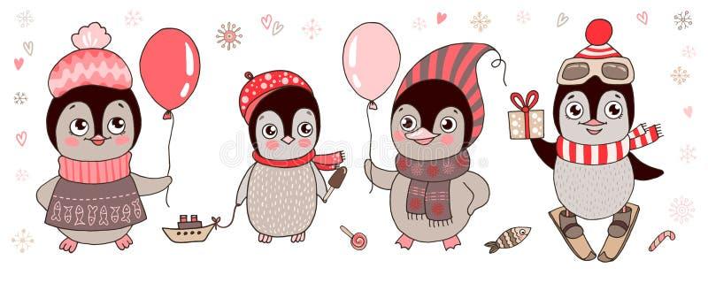 四只逗人喜爱的企鹅-滑雪者,婴孩,有气球的 皇族释放例证